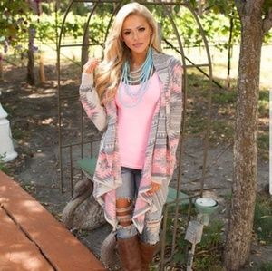 Sweaters - Pink irregular print knit cardigan (pre owned)new